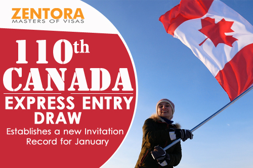 110th Canada Express Entry Draw - Establishes a new Invitation Record for January