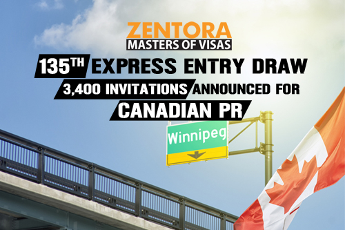 135th Express Entry Draw: 3,400 Invitations Announced for Canadian PR